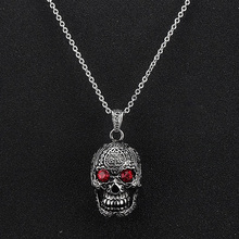 Men's Vintage Flower Skull Necklace RED Eyes Gothic Punk Stainless Steel Pendant Bike Jewelry HalloweenGift with 20inch Chain