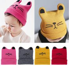 Fashion Warm Baby Hats Cute Cat Ear Newborn Knitted Hat Beanie Caps Autumn Winter Infant Kids Boys Girls Cartoon Caps Casquette(China)