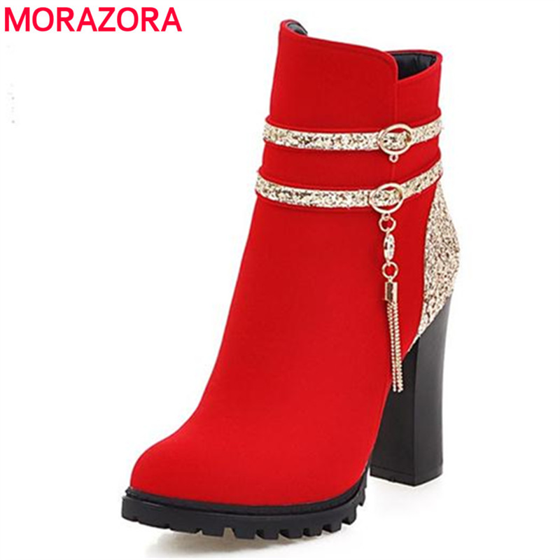 MORAZORA Womens boots spring autumn new wedding party shoes ankle boots high heels mixed colors flock platform boots<br>
