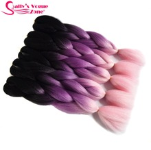 Sallyhair 24inch Ombre 3 Tone Black Purple Light Pink Color  Synthetic Braiding Hair Extension Bulk Hair Braids