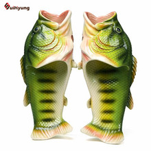 Suihyung Fashion Design Unisex Flat Slippers Men Beach Slippers Women Soft Bottom Home Slippers Funny Printed Fish Indoor Shoes