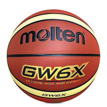 Original Molten GW6X Basketball Ball PU Leather Material Official Size 6 Indoor Outdoor Training Baloncesto With Net Bag+ Needle(China)