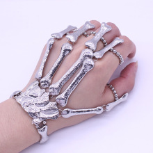 1 Pcs Punk Hand Chain Silver Skull Gothic Bracelet Skeleton Hand Bangles Flexible Fingers Bone Metal Statement Slave Bracelets(China)