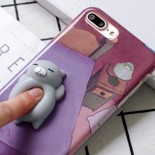 Lovely 3D Soft Silicone China Panda Bear Cat Squishy Phone Case For iPhone 6 6S 6 Plus 7 7 Plus Case Cartoon TPU Back Cover