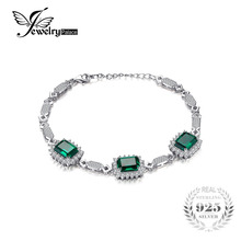 Jewelrypalace Luxury 8.2ct Created Emerald Link Bracelet 925 Stering Sliver Women Fashion Jewelry Party Nice Gift(China)