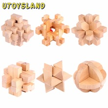 UTOYSLAND 6pcs/set Wooden Puzzle Toy Luban Lock IQ Teaser Set Development Educational Toy for Children Adult(China)