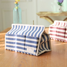 Cotton and Linen Cloth Art Multi-functional Waterproof Boxes Tissue Box 6 Pocket Stripe Creative Paper Bags