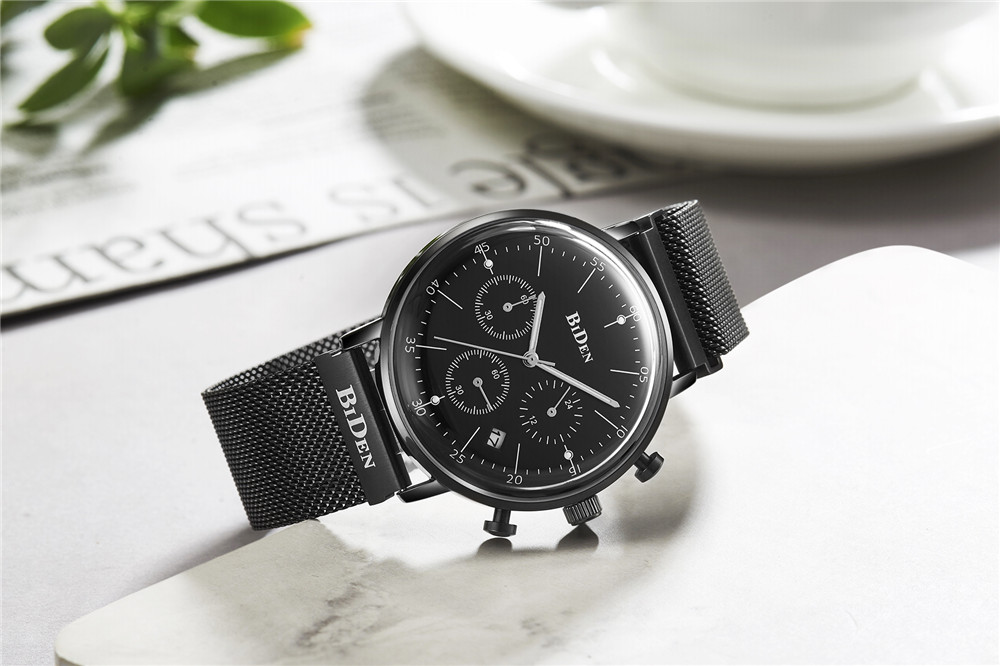 Montre Homme NYAR Chronograph Mens Watch Luxury Brand Full Steel Quartz Black Watch Men Wrist Watch Man Clock Erkek Kol Saati