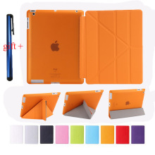 DIVISI Smart Case For Ipad 2/3/4 Magentic Cover Utra Slim PU Leather Multi-folding Translucent TPU Back Case+ Stylus Pen Gift