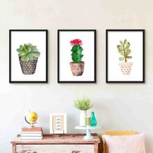Watercolor Potted Plant Elegant Graceful Artistic Lovely feeling Beauty Charming Art Picture Canvas Posters for Home Decoration(China)
