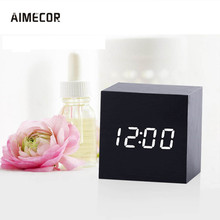 Aimecor Digital LED Alarm Clock Sound Control Wooden LED Desk Clock Square 60 x 60 x 60 mm AAA Batteries(China)