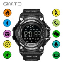 Digital Sport Watches GIMTO Bluetooth Pedometer Calories Distance Remote Camera Men Sports Watch Waterproof LED Stopwatch Male