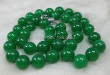 "Fashion DIY Jewelry 12mm Green Chalcedony Stone Beads Necklace Chain Women Girl Parts Accessories Design Make Wholesale 24""(China)"
