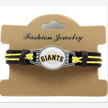 New Fashion San Francisco Giants Baseball Team Leather Bracelet Adjustable Leather Cuff Bracelet For Men and Women Fans 10PCS