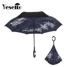 Yesello Cherry Blossoms Folding Double Layer Inverted Umbrella Self Stand Inside Out Rain Protection Long C-Hook Hands For Car