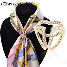 New Design Korean Fashion Scarf  Buckle Accessories Brooch Simple Three Square Crystal Shawl Buckle  for Women
