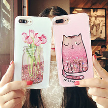 Buy Cartoon Cat Flower Perfume Bottle Phone Cases iPhone 7 6 6s Plus Case Quicksand Dynamic Liquid Glitter iPhone X 8 Case for $2.78 in AliExpress store
