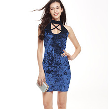 New halter dress patterns Sexy girl party dress Bodycon Solid Velvet  With Hole Sleeveless off shoulder dress sexy mini dress