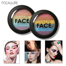 Love Beauty Female  FOCALLURE Rainbow Baked Eyeshadow Palette Shimmer Blush Makeup Tools 170303 Drop Shipping