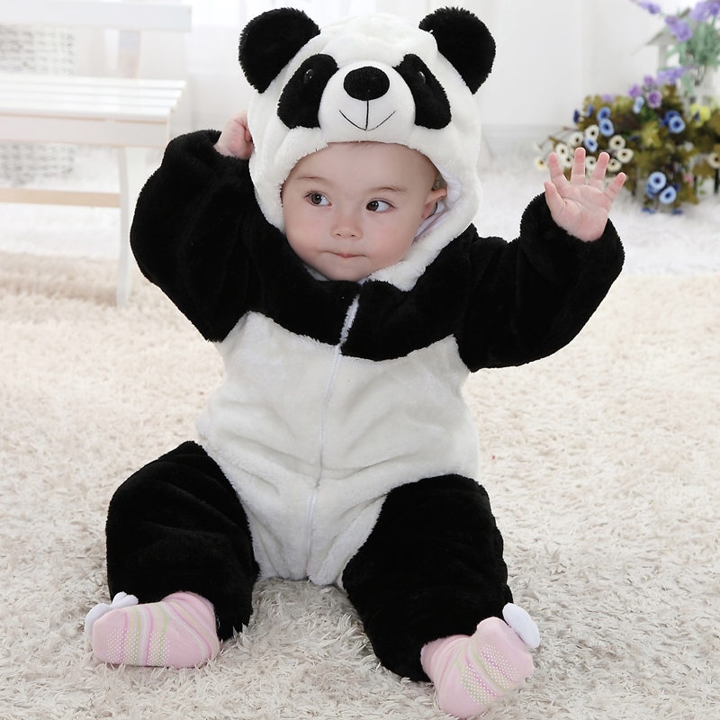 Hot New 2015 Winter infants Baby Boy Clothes Baby Panda animal shapes Style Romper Baby Hooded Onesie for kids cotton% Clothing<br>