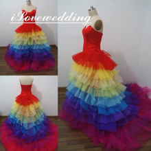 Girls Rainbow Colorful Quinceanera Dresses Tiered Train Tulle Actual Image Sleeveless Ball Gown Court Train Party Prom Dress