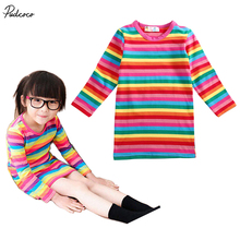 2017 Hot Summer Fashion New Spring Long Sleeve Kids Girls T shirt Dresses Rainbow Striped A-Line Casual Clothes(China)