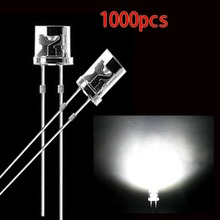 1000pcs 5mm White Flat top DIP LED Diodes Super Bright Wide Angle LED Light Lamp(China)