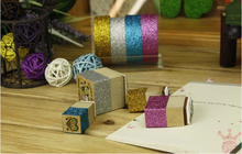 1pcs/lot New Colorful glitter fabric tape good quality tinselled stick Adhesive Tape wedding tape(China)