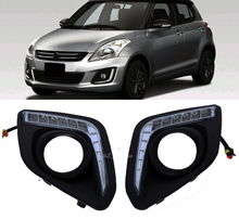 2x White 12V LED Car DRL daytime running lights with fog lamp hole for For Suzuki Swift 2014 2015 2016(China)