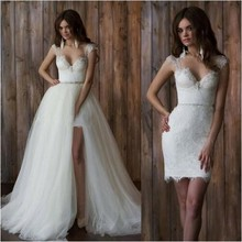 Lace Backless Two Pieces Wedding Dresses Short Front Long Back Sweetheart Detachable Skirt Sheath Beach Bridal Gowns