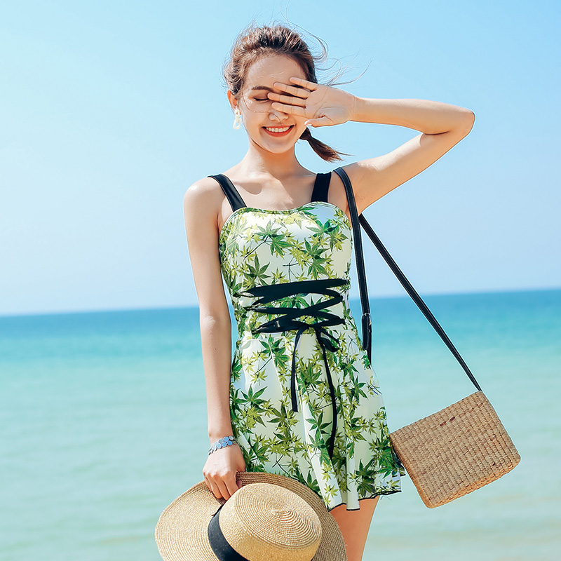 Green Bamboo leaves Print summer 2018 new Sexy women Push Up swimwear Dress type one piece swimsuit deep V women bathing suits<br>