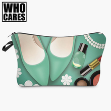 mint 3D printing Cosmetic Bag women makeup bag 2017 Fashion New cosmetic cares trousse de maquillage neceser