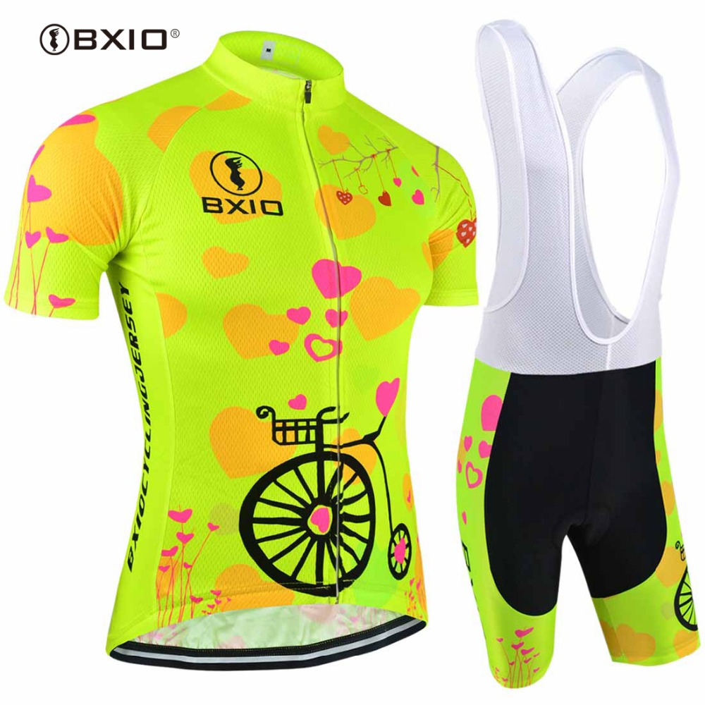 2017 Fluorescence Women Cycling Jerseys Set Bicycle Short Sleeve Road Bike Clothing Roupas De Ciclismo Equipacion BXIO Brand 125