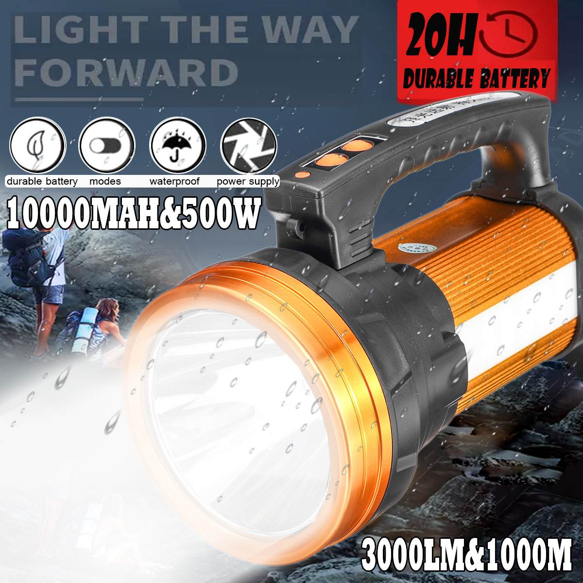 10000MAh USB Rechargeable LED Work Light Torch Candle Power Spotlight Hand Lamp