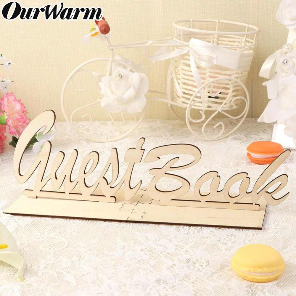 OurWarm Rustic Wooden Guest Book Wedding Sign Table Guestbook Sign Wedding Birthday Baby Shower Party DIY Table Decoration