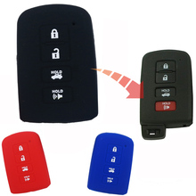 For Toyota Camry Avalon Rav4 Highlander 2012 2013 2014 2015 4 buttons Silicone Car Key Case Cover Black Red Blue