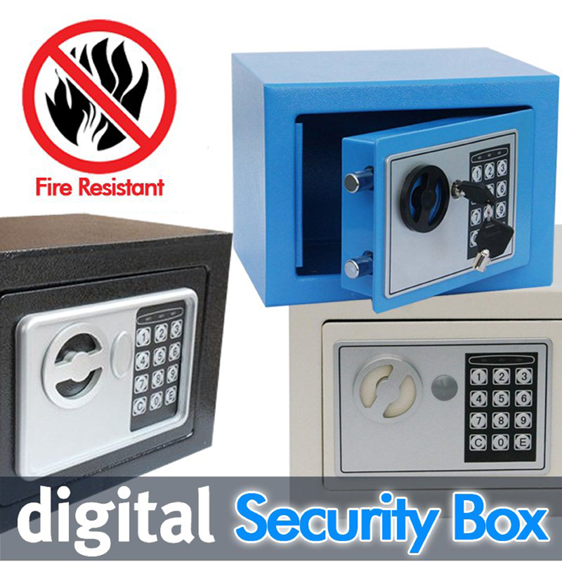 Digital safes box is Fire Drill Resistant Ideal for Home Office use! Safety Security Box keep Cash Jewelry or Documents Securely