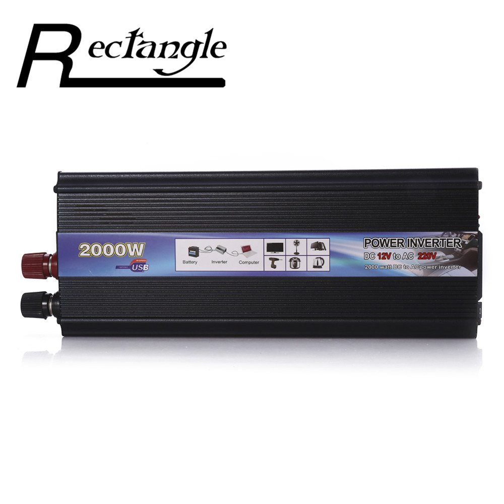 Rectangle Car Inverter 2000W DC 12V to AC 220V Power Inverter Charger Converter Sturdy and Durable Vehicle Power Supply Switch<br>