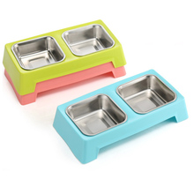 Stainless Double Dog Bowls Moveable Pattern Non-Slip Bottom three Color Pet Cat Feeder(China)