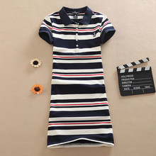 POLO Cotton Casual Mini Short A-Line 2017 Women Embroidery Evening Cartoon Print Party Dress Striped Summer Vestidos Sexy Club