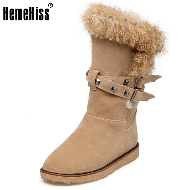 KemeKiss Size 34-43 Ladies Flats Boots Women Rivets Round Toe Flat Warm Boot Daily Work Winter Slip On Female Fashion Shoes<br>