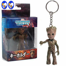 A Toy A Dream New Guardians of the Galaxy 2 Baby PVC Figures with Keychain Pendants Collectible Tree Model Toys Key Ring Gift