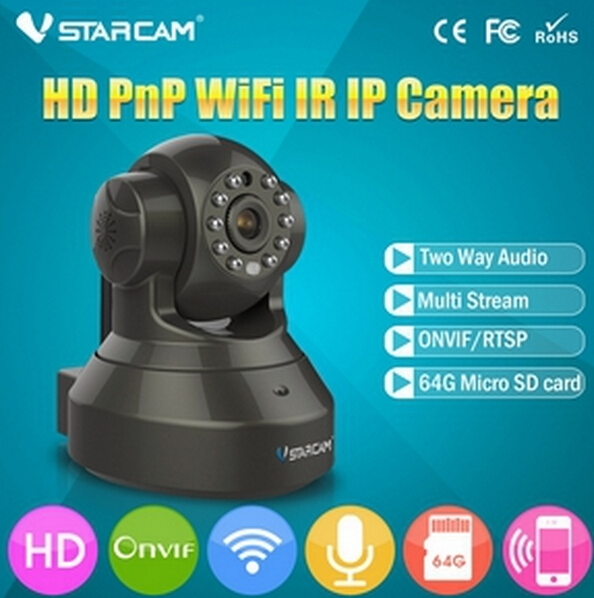 Black  Vstarcam C7837WIP HD 720P Wifi IP Camera Wireless Support 64G SD Card And Two Way Audio P2P IP Security Camera<br><br>Aliexpress