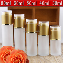 30ml 40ml 50ml 60ml 80ml 10pcs White Frosted Glass Bottle Cosmetic Perfume Container, Lotion Pump Bottles Empty Packaging Bottle