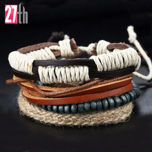 New Multilayer Leather Charm Bracelet Men Jewelry Vintage Bracelets For Women Manual Bead Pink Pulseira Feminina Pulseras