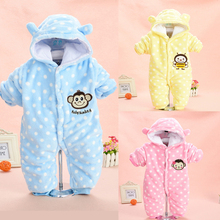 2017 Brand New Baby Girls Rompers Thick Body Warmer Coral velvet Pink Monkey Pajamas Sleepwear Comfortable Outfit Free Shipping(China)