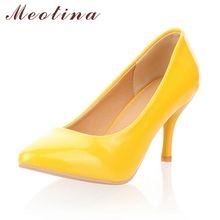 Meotina Women Shoes High Heels Pointed Toe High Heel Shoes Women Pumps White Wedding Heels Footwear Yellow Black Large Size 9 10