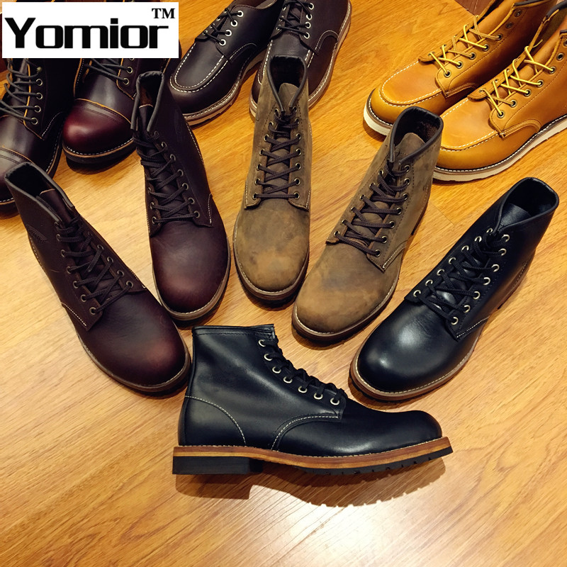 Fashion Genuine Leather Red Ankle Boots Autumn/Winter Men Wing 9013 Motorcycle Boots Martin Botas Femininas Snow Shoes Oxfords<br><br>Aliexpress