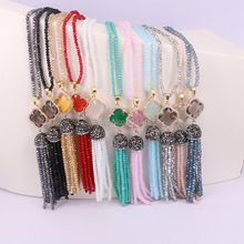 5 Strands Handmade Crystal Glass Beads with Tassel and Clover Zircon Charm Bead Necklace for Women Jewelry Long Necklace(China)
