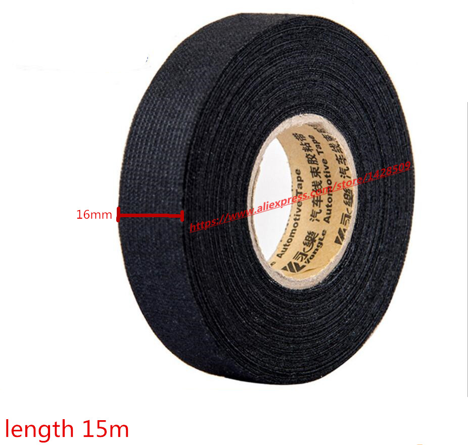 16mmx15m Universal Flannel fabric Cloth Tape automotive wiring harness  Black Flannel Car Anti Rattle Self Adhesive